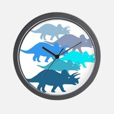 Blue Triceratops Family Wall Clock