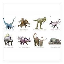 "Cute Dinosaur Square Car Magnet 3"" x 3"""