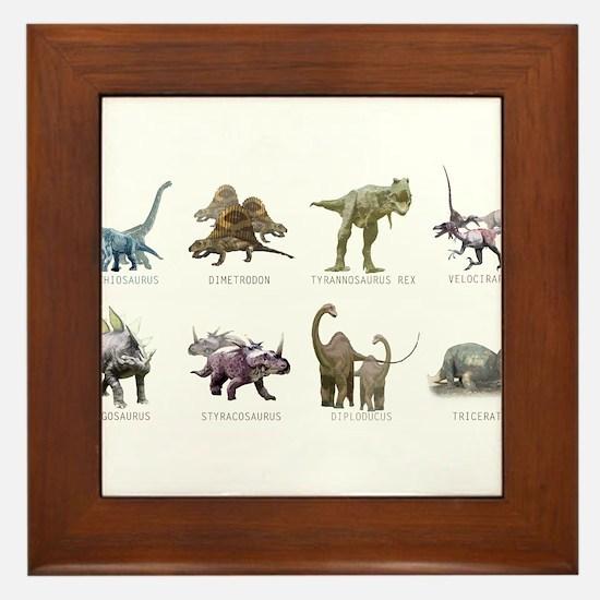 Cute Dinosaur Framed Tile
