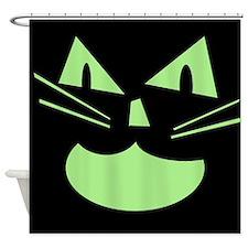 Spooky Black Cat Shower Curtain