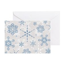 Elegant Blue and Silver Snowflake Glitz Print Gree