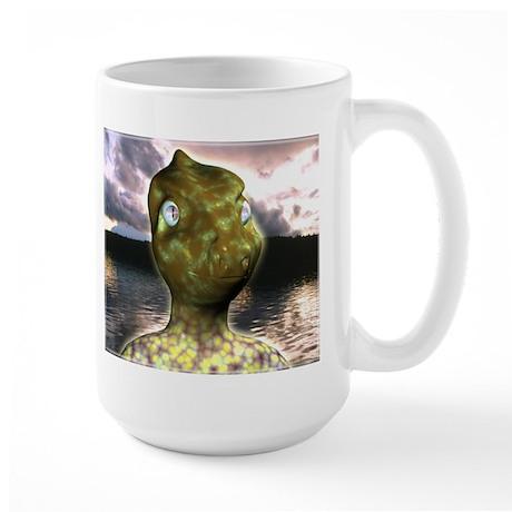 dinosaur alien Large Mug