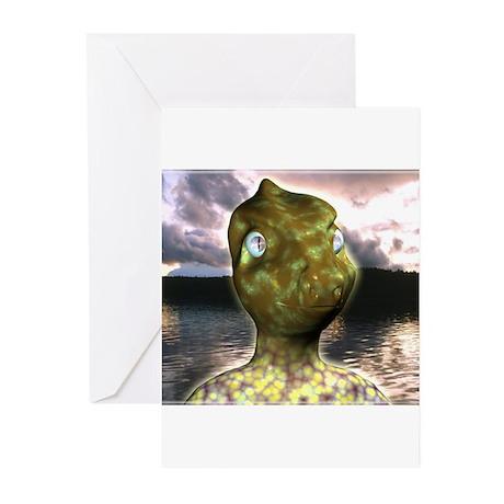 dinosaur alien Greeting Cards (Pk of 10)