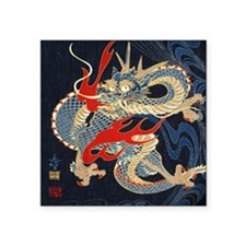 "dragon japanese textile Square Sticker 3"" x 3"""