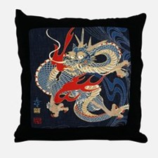 dragon japanese textile Throw Pillow