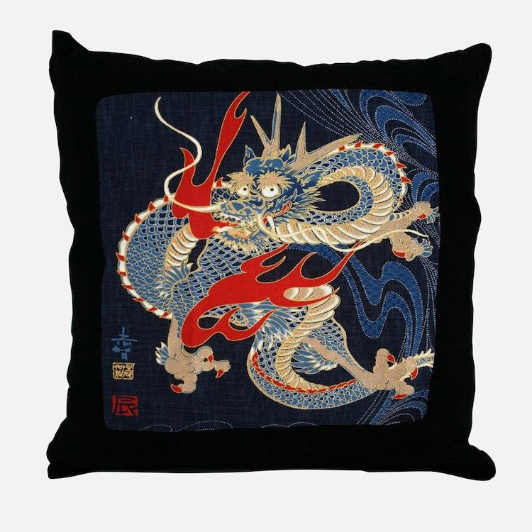 dragon japanese textile Throw Pillow