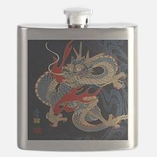 dragon japanese textile Flask