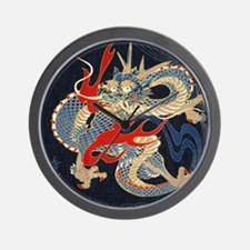 dragon japanese textile Wall Clock