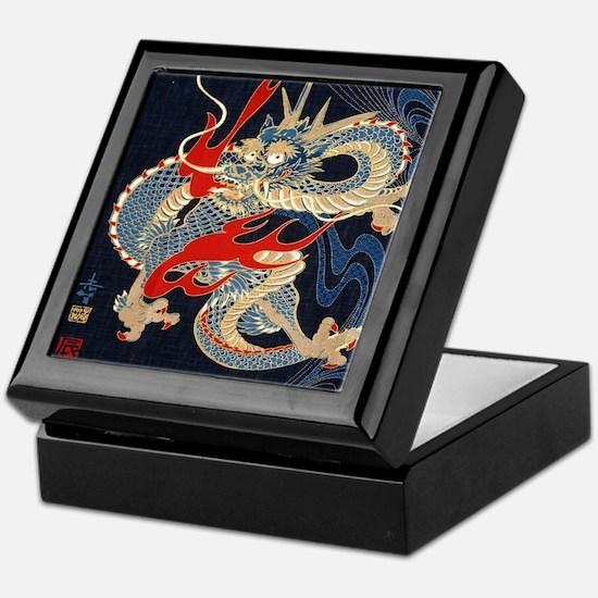dragon japanese textile Keepsake Box
