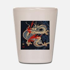dragon japanese textile Shot Glass