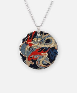 dragon japanese textile Necklace