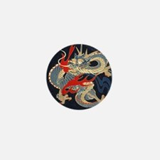 dragon japanese textile Mini Button