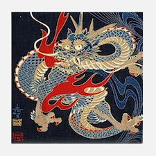 dragon japanese textile Tile Coaster