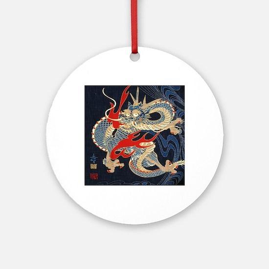 dragon japanese textile Round Ornament