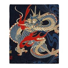 dragon japanese textile Throw Blanket