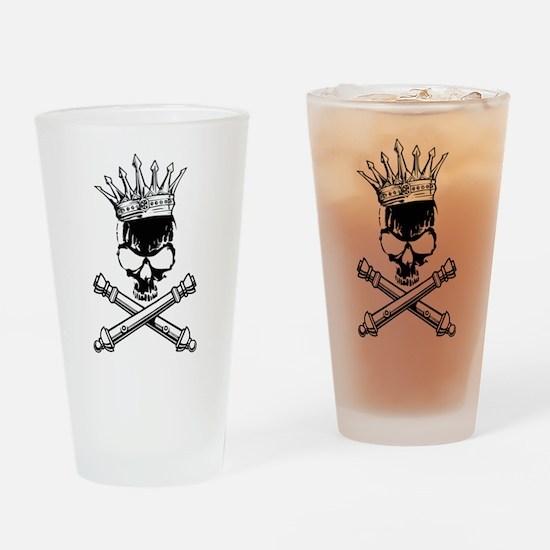 Artillery Skull Cross Cannons Drinking Glass