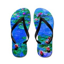 Monet - Water Lilies - 2 Red Flip Flops