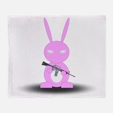 Gun Bunny Pink Large Throw Blanket