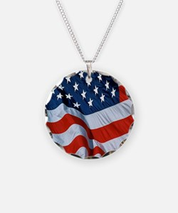 American Flag square Necklace