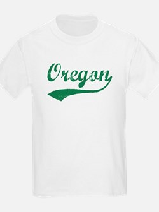 Vintage Oregon (Green) Kids T-Shirt