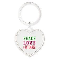Peace Love Guatemala Heart Keychain