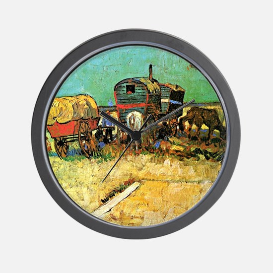 Van Gogh: Encampment of Gypsies with Ca Wall Clock