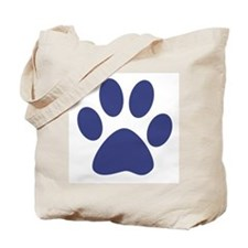 Blue Paw Print Tote Bag