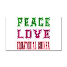 Peace Love EQUATORIAL GUINEA Rectangle Car Magnet