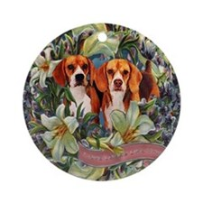 Beagle Easter Spring Victorian Ornament (Round)