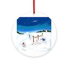 Christmas Bunny Stockings (twxtw) Ornament (Round)