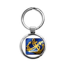 nautical crossed anchor Round Keychain