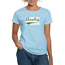 Vintage Aruba (Green) Women's Pink T-Shirt