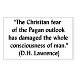 DH Lawrence Pagan Quote Rectangle Sticker