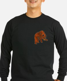 STAINED GLASS LOOK BEAR9 Long Sleeve BLACK T-Shirt