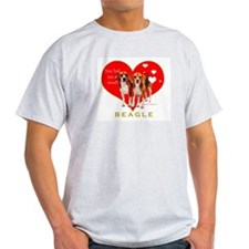 Beagle Valentines Heart Woof Ash Grey T-Shirt