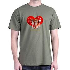 Beagle Valentines Heart Woof T-Shirt