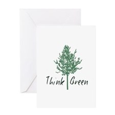 Think Green Tree Greeting Cards
