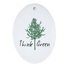 Think Green Tree Ornament (Oval)