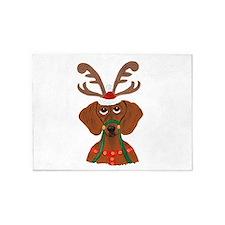 Dachshund Reindeer 5'x7'Area Rug