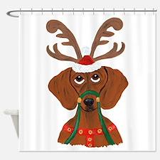Dachshund Reindeer Shower Curtain