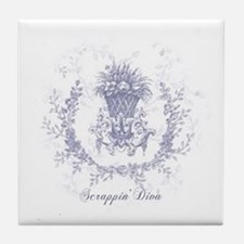 Blue Toile Scrappin Tile Coaster
