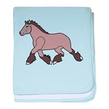 Brown Clydesdale Horse baby blanket