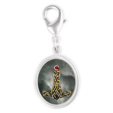 Thor's Hammer Silver Oval Charm