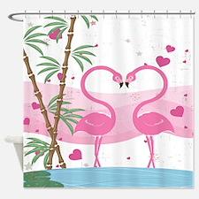 Cute Tropical Pink Flamingo Love Shower Curtain Sh