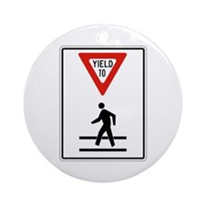 Yield To Pedestrians - USA Ornament (Round)