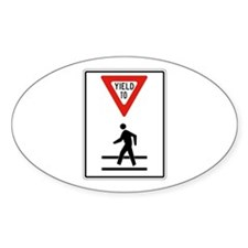 Yield To Pedestrians - USA Oval Decal