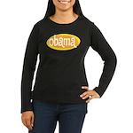 Obama Retro Women's Long Sleeve Brown Tee