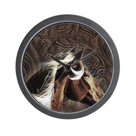 western horse leather pattern Wall Clock