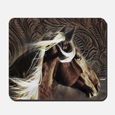 western horse leather pattern Mousepad