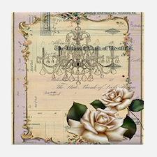 chandelier rose scripts floral paris Tile Coaster